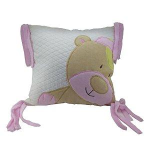 Almofada com aplique Urso Rosa - Zip Toys