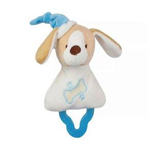 Mordedor Chocalho Cachorrinho Branco e Azul - Zip Toys
