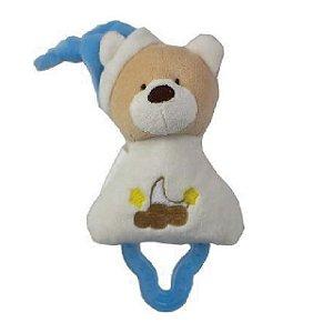 Mordedor Chocalho Ursinho Branco e Azul - Zip Toys