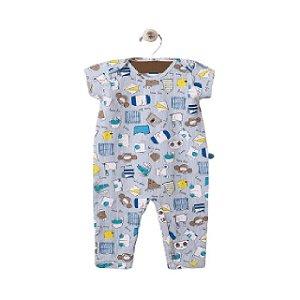 Pijama macacão malha strech - estampa azul bichos - manga curta