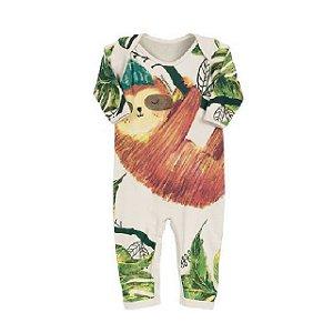 Pijama macacão em suedine natural - estampa bicho preguiça - manga longa