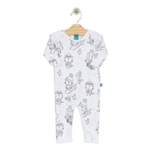 Pijama macacão em suedine branco - estampa gatinhos - manga longa