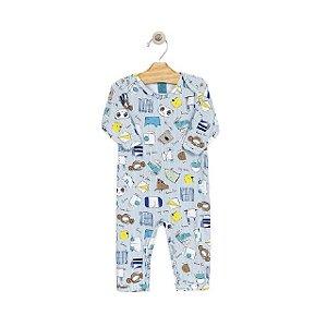 Pijama macacão em malha stretch - estampa azul bichos - manga longa
