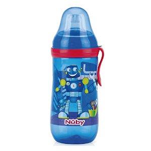Garrafinha Decorada com bico de silicone – Robô – 360 ml - Nuby