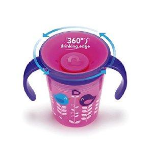 Copo Decorado 360 graus de treinamento com alça  - 177 ml - Roxo / Rosa - Passarinho – Munchkin
