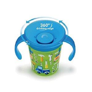 Copo Decorado 360 graus de treinamento com alça  - 177 ml - Verde / Azul - Carrinho – Munchkin