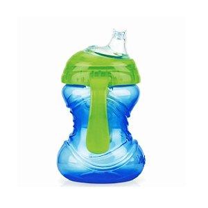 Copo com Alça e Super bico de silicone - Azul - 240 ml - Nuby