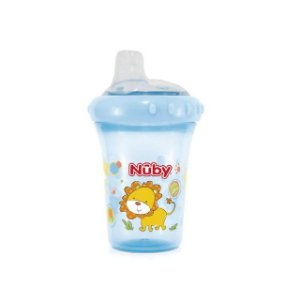Copo com bico de silicone – Leão - Azul  – 207 ml - Nuby