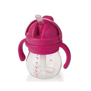 Copo Infantil de Treinamento com Canudo de Silicone, Alça e Tampa Articulada - Rosa - 150 ml -  Oxo Tot