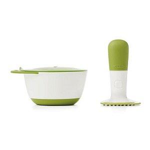 Pote com tampa e amassador de alimentos Branco e Verde - Oxo Tot