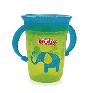 Copo treinamento 360 – Nuby – Verde e Azul - Elefantinho – 240 ml – Nuby