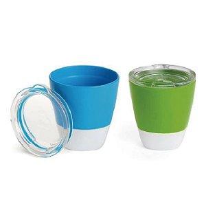 Conjunto com 2 Copos com Tampa Azul e Verde (Splash Toddler Cups) - 207 ml - Munchkin
