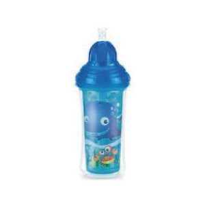 Copo Térmico com Canudo de Silicone e Trava - Fundo do Mar - 270 ml - Nuby