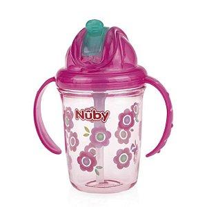 Copo com canudo de silicone alça e bico retratil Tritan rosa flores 240 ml +12m Nuby
