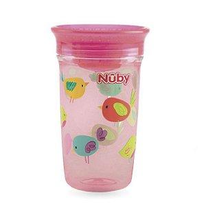Copo infantil  360 Tritan rosa passarinhos 300 ml Nuby