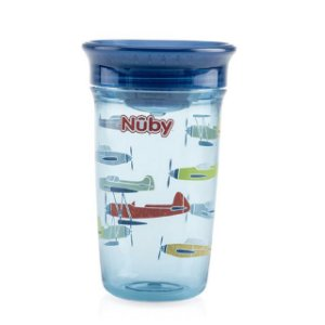 Copo infantil  360 Tritan azul avioes 300 ml Nuby
