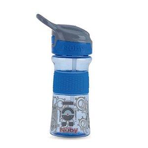 Copo Thirsty Kids infantil Tritan com botao e super bico de silicone azul robo 360 ml 18+m  Nuby