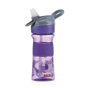 Copo Thirsty Kids infantil Tritan com botao e super bico de silicone lilas coruja 360 ml 18+m  Nuby