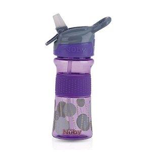 Copo Thirsty Kids infantil Tritan com botao e super bico de silicone lilas bolas 360 ml 18+m  Nuby