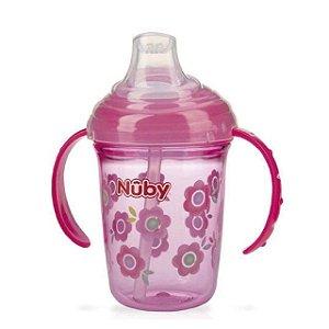 Copo com bico de silicone e alça Tritan rosa flores 240 ml
