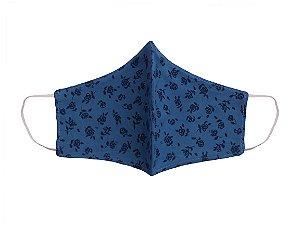Máscara de Tecido - Feminina - ADULTO - Azul e Flores - Zip Toys