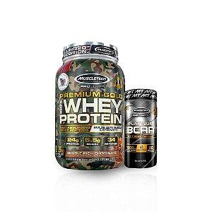 Combo Whey Premium Gold Camuflado 2,5 Lbs + Bcaa 100%Platinum 8:1:1 60Caps 1000Mg - Muscletech