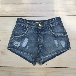 SHORT HOT PANTS JEANS SLIM COM DETONADO