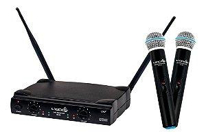 Microfone Sem Fio Duplo Mão Lyco Uh02mm Uhf