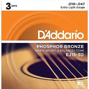 Encordoamento D'Addario 3 Sets EJ15-3D .010 Fósforo Bronze p/ Violão Aço