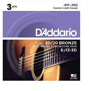 Encordoamento D'Addario 3 Sets EJ13-3D .011 Fósforo Bronze p/ Violão Aço