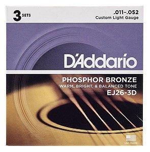 Encordoamento D'Addario 3 Sets EJ26-3D .011 Fósforo Bronze p/ Violão Aço
