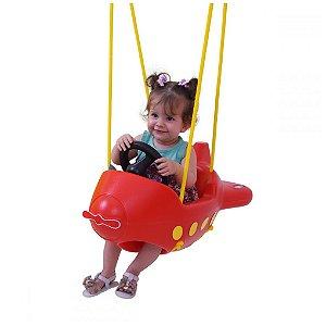 Balanço Infantil Avião Vermelho