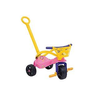 Triciclo Fofinha com Empurrador, Proteção e Cestinha