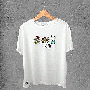 Camiseta masculina e feminina basic branca 100% Algodão Coleção Apaoká Tema União