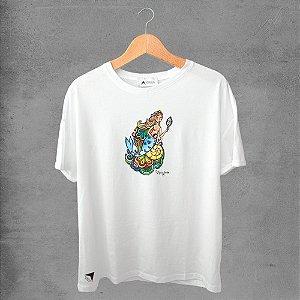 Camiseta masculina e feminina basic branca 100% Algodão Coleção Apaoká Yenmanjá
