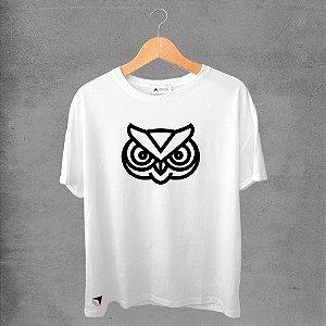 Camiseta masculina e feminina basic branca 100% Algodão Corujas Nº 11