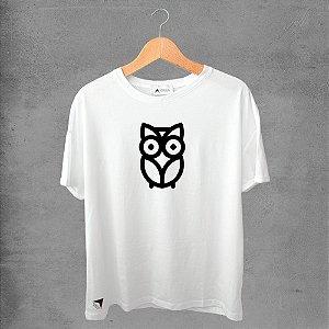Camiseta masculina e feminina basic branca 100% Algodão Corujas Nº 13