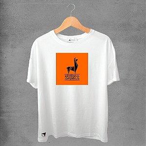 Camiseta masculina e feminina basic branca 100% Algodão Lhama Africana