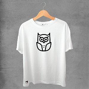 Camiseta masculina e feminina basic branca 100% Algodão Corujas Nº16