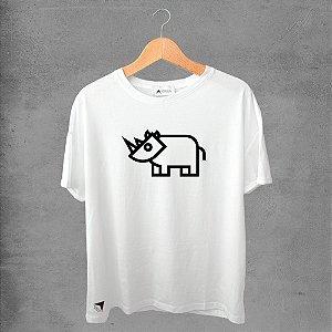 Camiseta masculina e feminina basic branca 100% Algodão Hipopótamos Tribal