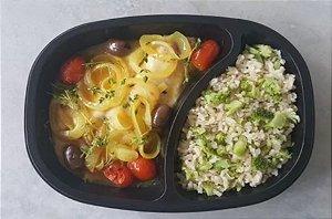 Filé de Peixe ao Mediterrâneo e Arroz Integral com Brócolis 350 gramas Chef Congelados