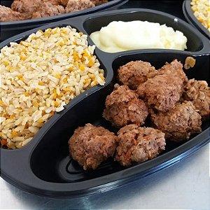 Almôndegas de Carne com Purê de Batata e Arroz Integral Temperado 390 gramas