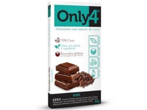 CHOCOLATE 70% CACAU/NIBS DE CACAU 80 GRAMAS ONLY4