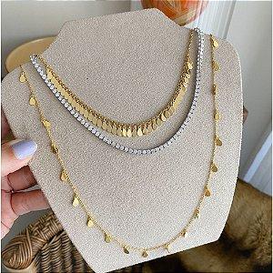 Colar Plaquinhas Gold 40 cm + 5cm Prata 925