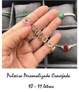 Pulseira Personalizada 10-11 letras Cravejadas