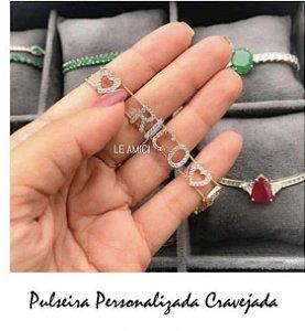 Pulseira Personalizada 8-9 letras cravejadas