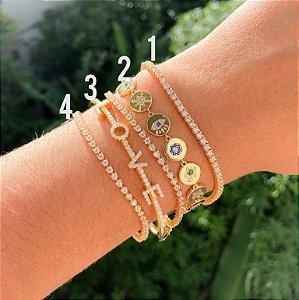 New! Bracelete LOVE cravejado ouro 18k