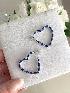 Argola Heart Esmaltada Azul Prata 925