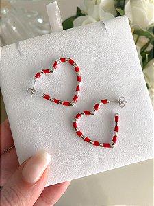 Argola Heart Esmaltada Vermelha Prata 925