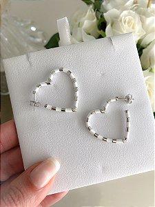Argola Heart Esmaltada Branca Prata 925